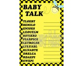 Bumble Bee Theme Baby Shower Game, Bee Theme Baby Shower Word Scramble, Printable Baby Shower Word Game, Mommy to Bee Theme Baby Shower Game