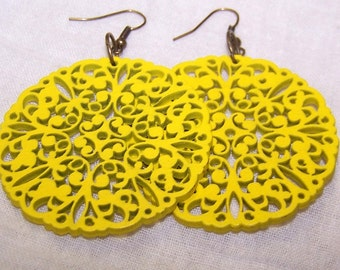 Wooden Earrings - Yellow, Filigree, Circle Wood Carved Earrings