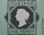 Postage - One Penny Stamp Stencil - 2 overlay vintage looking stencil