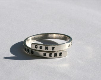 Nirvana Lyric ring 'Come as you are, As you were' Sterling Silver, 925, handmade ring, grunge