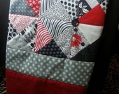 58 x 58 Handmade Red, White and Black Floral Triangle Button Dots Gray Tropical Island Tahiti Block Quilt