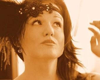 Jazzy Black Flapper headband, 1920s headband, Gatsby headpiece, 1920s prom, 20s hair band, flapper headpiece, black flapper dress, 20s anni