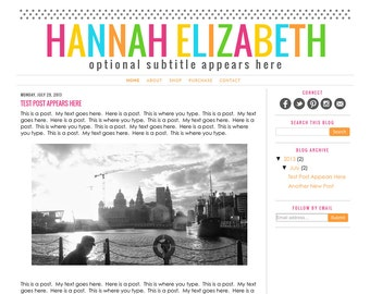 Blogger Template Premade Blog Design Theme - Hannah Elizabeth - INSTALLATION INCLUDED - Responsive, Rainbow, Colorful, Teacher Blog, Simple