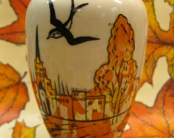 Made in Japan Vase,Orange and Gray Luster Glaze with a Sinister Black Bird