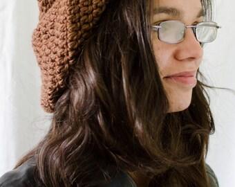 Brown beret handmade crochet unique