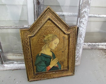 Vintage Florentine Gold Gilt Italy Italian Wall Madonna Hanging