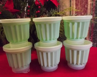 Six 1960s Mint Green Vintage TUPPERWARE Individual Mini Jello Molds for your Country Kitchen