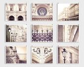 """Set of nine 8x10"""" photographs - Paris photography collection,Paris art,White,Shabby chic,Fine art photography,Paris decor,large wall art"""