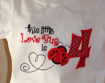 Ladybug Lady Bug onesie/shirt embroidered custom made 6m-5