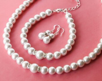 Pearl Jewelry set with Necklace, Bracelet and Earrings, Bridesmaids Gift, Bridal pearl set