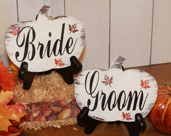 BRIDE & GROOM Wedding Chair Signs/Pumpkin shape/Fall Autumn Leaves/Photo Prop/U Choose Colors/Great Shower Gift/Rustic/Vineyard/Woodland