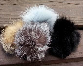Fox real fur scrunchie with one big pom