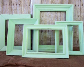 shabby chic mint green frames distressed frames set of 5 mint green frames gallery frames photo prop frames