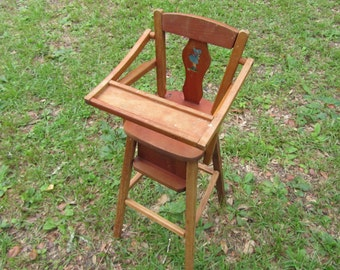 Antique doll high chair wooden