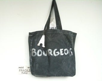 CUSTOM Bourgeois Upper Middle Class Large Black Silver City Bag Shopping Eco Tote / Eve Damon