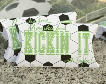 Soccer Party Favor Boxes: 10 Personalized Pillow Boxes Soccer Theme Party Thanks for Kickin' it