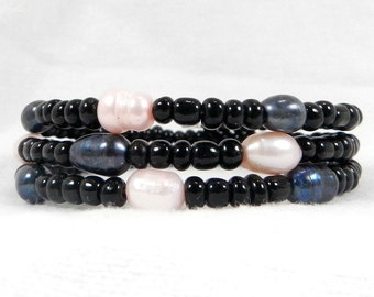 Black Seed Beads, Grey Pearls, Pink Pearls, Christmas Gift, Birthday Present, Graduation Present, Gift Under 20