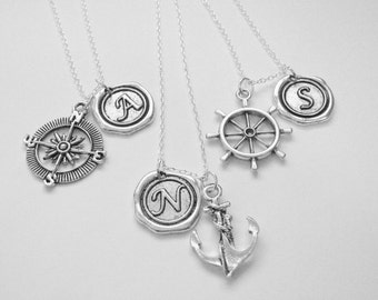 3 Anchor, Compass, Rudder Wax Seal Initial Best Friend Necklaces BFF