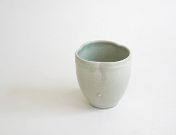 porcelain tumbler in mint celadon crackle glaze