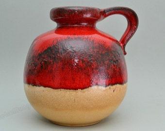 West German Scheurich vase 484-21 red / brown
