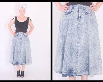 1980's Acid Wash Denim Skirt // High Waisted Jean Skirt // 28 inch waist // midi length (small - medium)