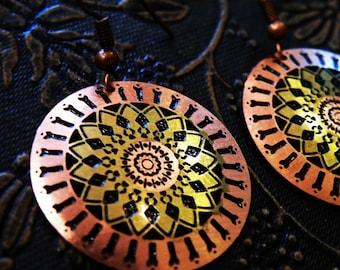 Fire Mandala plate earrings