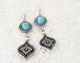 Turquoise Chandalier Earrings  tibetan bohemian jewelry collection