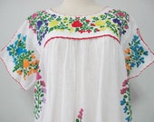 Mexican Embroidered Blouse Split Sleeve White Cotton Top, Boho Hippie Blouse