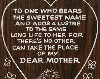 1970's Vintage Mother's Love Poem Wall Hanging