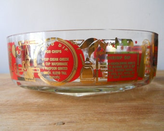 Retro Red and Gold Footed Chip Bowl