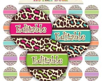 INSTANT DOWNLOAD Editable Bottle Cap Images Digital Collage Sheet Bottlecap Images Hair Bow Supplies Editable Cheetah Leopard Sheet No.17
