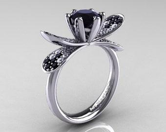 14K White Gold 1.0 Ct Black and White Diamond Nature Inspired Engagement Ring Wedding Ring R671-14KWGDBD