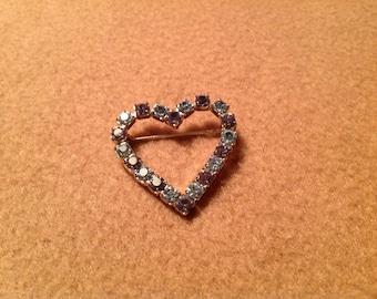 Vintage Silver Tone Heart Brooch