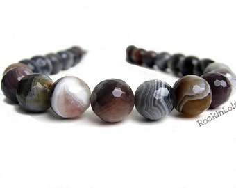 Botswana Agate Necklace with Banded Onyx and Swarovski Crystal- Faceted- handmade by RockinLola