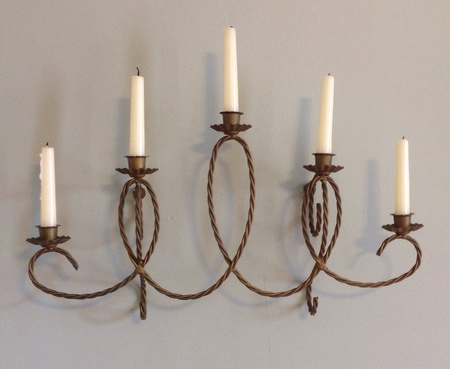 Gold twisted wire metal wall chandelier sconce candle holder