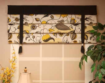 "MOCK ROMAN SHADE Hidden Rod Pocket valance with ties, fits 24""- 42"" window, stationary hobbled shade, Your fabrics, my labor and lining"
