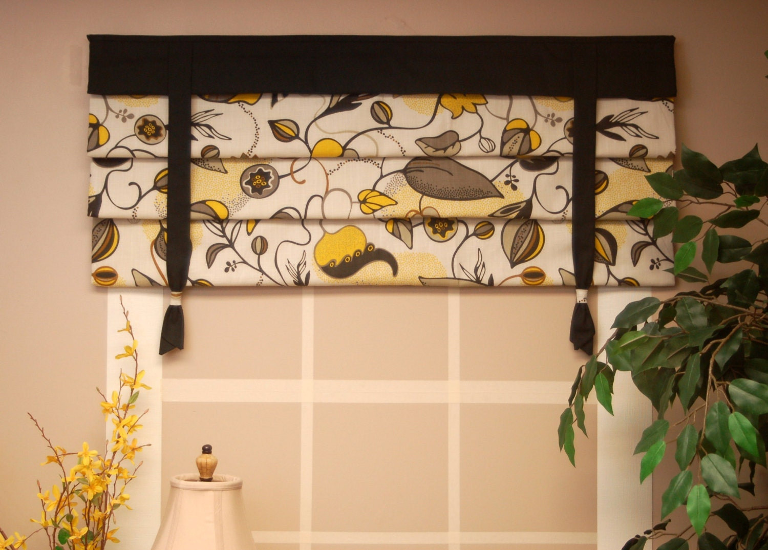 Mock roman shade hidden rod pocket valance with ties fits for Roman shades that hang from a curtain rod
