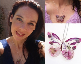 For Artists Exposed - Real flower butterfly necklace - custom made - resin jewelry - dried flowers - favorite flowers - favorite colors