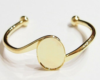 2 of 25x18 mm Shiny Gold Plated S-Bar Cuff Bracelets Great for Cameos, Cabs, or Glass