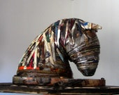 Lila - Horse Recycled Paper Sculpture - first anniversary for him - Paper art