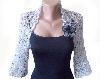 Wedding shrug bolero - Bolero jacket - Grey knitted shrug - Bridal cover up - Lace shrug - Bridal jacket - Wrap over dress - Evening shrug