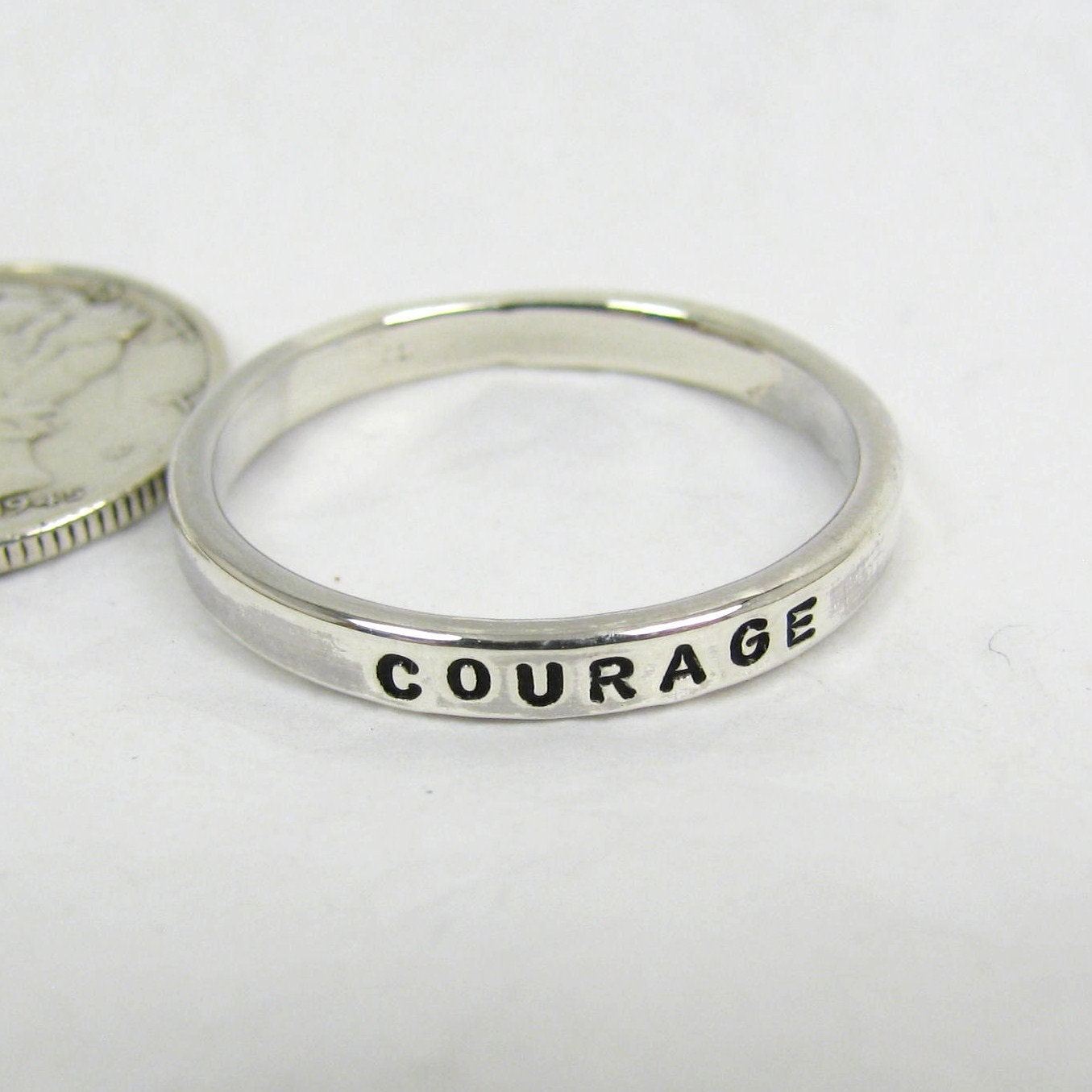 personalized name ring 2 mm silver stacking promise rings