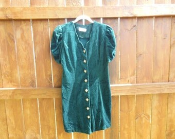 Vintage 1980's Awesome, emerald green, velvet, button up dress with puffy gathered sleeves.
