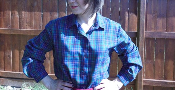 Vintage 1970's long sleeved, plaid, button up blouse.  Tartan plaid in blue, maroon, and green.  Christmas//fall//hipster