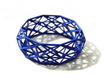 3D printed geometric Bracelet in Blue Nylon