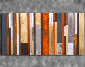 24x48 Wooden Barn Board Metallic Wall Art Sculpture Distressed Barn Board Abstract Clubhouse Rustic Modern Shabby Chic Primitive CUSTOM MADE