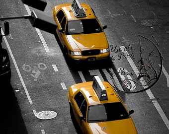 Yellow cab, black and white photography, New York Photography, black and yellow art, NYC art, taxi driver wall art, NYC design personalized