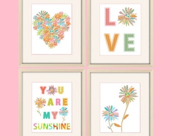 you are my sunshine girl nursery decor nursery prints, love art, love nursery art, baby girl nursery, baby shower gift, baby girl gift set