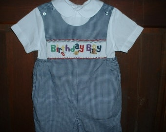 Navy Check Hand Smocked Birthday Boy Shortall/Shirt-12 mos-6T