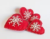 Set of 4 Christmas Hanging Fabric Love Heart with Snowflake in Red and White,Winter Hearts Ornament, Wedding Favor, Christmas Red Hearts